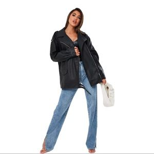 Misguided NWT oversized black vintage biker jacket